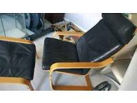 Ikea black leather poang chair and foot stall