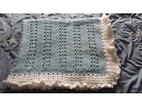Hand made crochet knitted baby blanket boys NEW