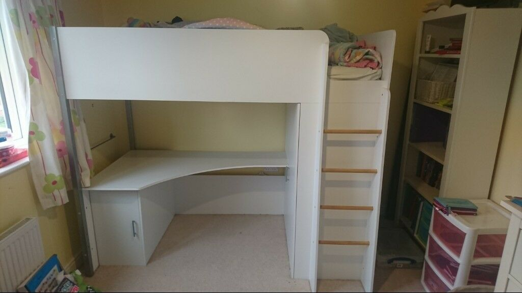 High Sleeper Bed With Wardrobe Cupboard And Desk