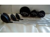 Callaway X Hot, driver, 3 & 5 woods with head covers.