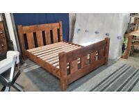 Rustic Kingsize Medium Oak Slat Bed