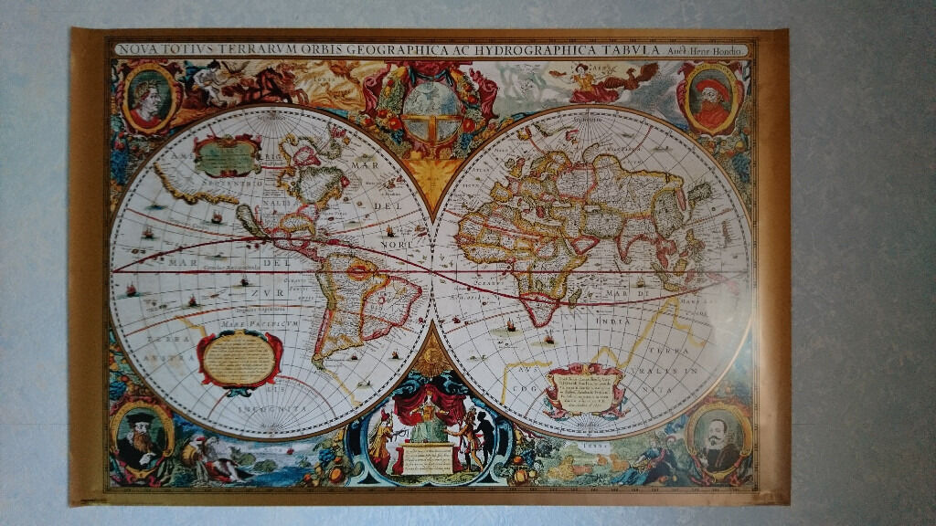 17th century world map gold ink poster 61 cm x 915 cm in st 17th century world map gold ink poster 61 cm x 915 cm gumiabroncs Choice Image