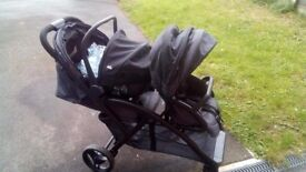 Joie evalite duo tandem with carseat and raincover