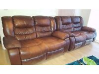 2x Two Seater Leather Reclining Sofas