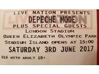 2 x Depeche Mode Tickets - Golden Circle Early Entry - Saturday 3rd June 2017 - London Stadium