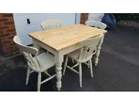 GORGEOUS 4FT ANTIQUE PINE TABLE & CHAIRS SHABBY SHIC FARMHOUSE