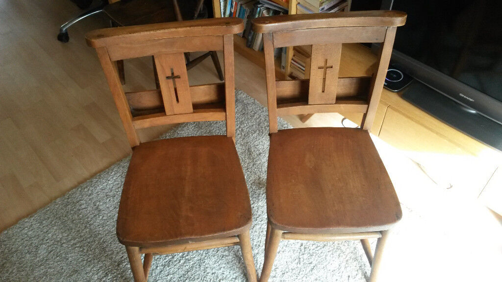 Pair of vintage chapel chairs