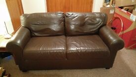 2 x 2 seater sofas + footstool brown leather