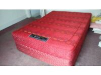 used double bed, sprung base and mattress,