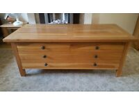 Solid oak laura ashley storage cabinet sideboard coffee table rustic living room