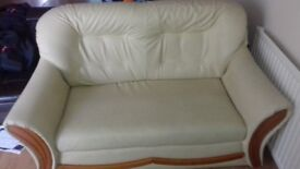 Cream Faux Leather Sofa Settee Suite 2 + 1