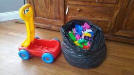 Mega bloks building bricks and cart toys