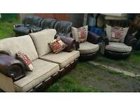 3 piece Chesterfield sofa set with 2 swivel chairs