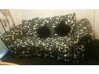 Black printed fabric sofa
