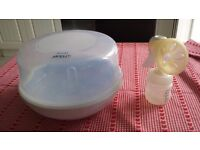 Philips AVENT SCF281/02 Microwave Steriliser plus Breast Pump & Bottle