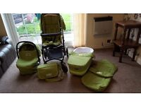 Bebecar Ip-Op Travel System includes Carry Cot/Pram, Car Seat, Toddler Seat, Changing Bag, Footmuff
