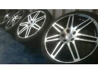 """AUDI VW 18"""" ALLOY WHEELS & TYRES 5X112 A3 A4 GOLF PASSAT T4"""