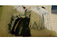 Baby boy bundle mix of 0-3 &3-6month grows vests and dungarees