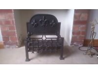 FIRE GRATE - DUEL FUEL. EXCELLENT CONDITION. VERY HEAVY DUTY. FLEUR DE LYS PATTERN