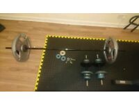 Weights (80kg of plates, 10kg barbell, dumbbell bars and clips)