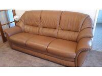 Leather 3 Piece Suite - Chestnut Colour