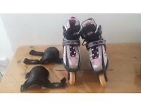 SFR VORTEX Hyper Shell Roller Blades Pink Grey Black Knee Pads UK 12J-2 EU 34-37