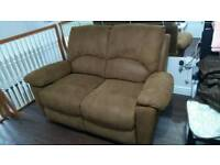 2 seater Sofa recliner brown fabric with cover