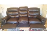 3 seater and 2 seater black sofa with recliner