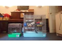 Large rodent cage & small travel cage (for Rat, Ferret, Chinchilla, Degu or other Small Pets)