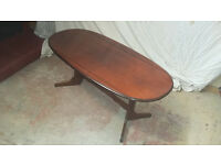 long brown wood coffee table