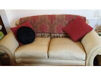 TWO Gorgeous Soft Gold with a hint of Deep Red 2.5 Seater Sofas - OR - will sell individually