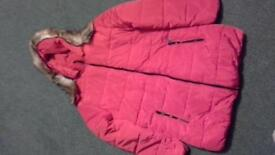 BRAND NEW 10/12 RED QUILTED JACKET WITH FAUX FUR HOOD