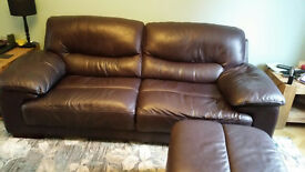 Leather 3 seater sofa and storage footstool