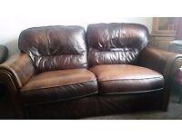DFS leather dark brown sofas