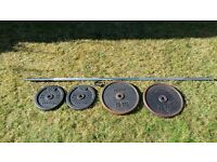 7ft Stainless Steel Olympic Barbell + 60kgs Plate Weights