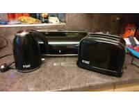 Black Kettle, toaster and breadbin