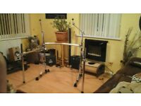 drum rack , crome, plus 2 cymbal stands .