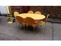 SOLID WOOD AND CHROME DINING TABLE AND 6 CHAIRS FREE LOCAL DELIVERY