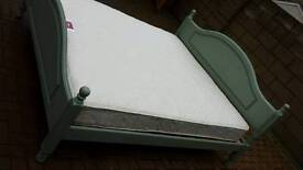 Green painted pine 6ft super king size bed clean mattress