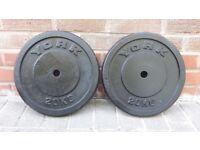 2 X 20KG CAST IRON YORK WEIGHT PLATES