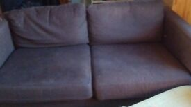 REDUCED IKEA Karlstad chocolate brown fabric 2-3 seater sofa