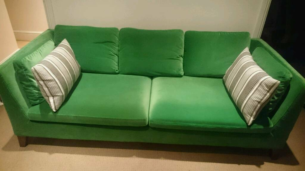 Three Seat Velvet Sofa Stockholm IKEA Sandbacka Green