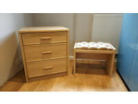 Oak effect bedroom chest of drawers with FREE matching stool