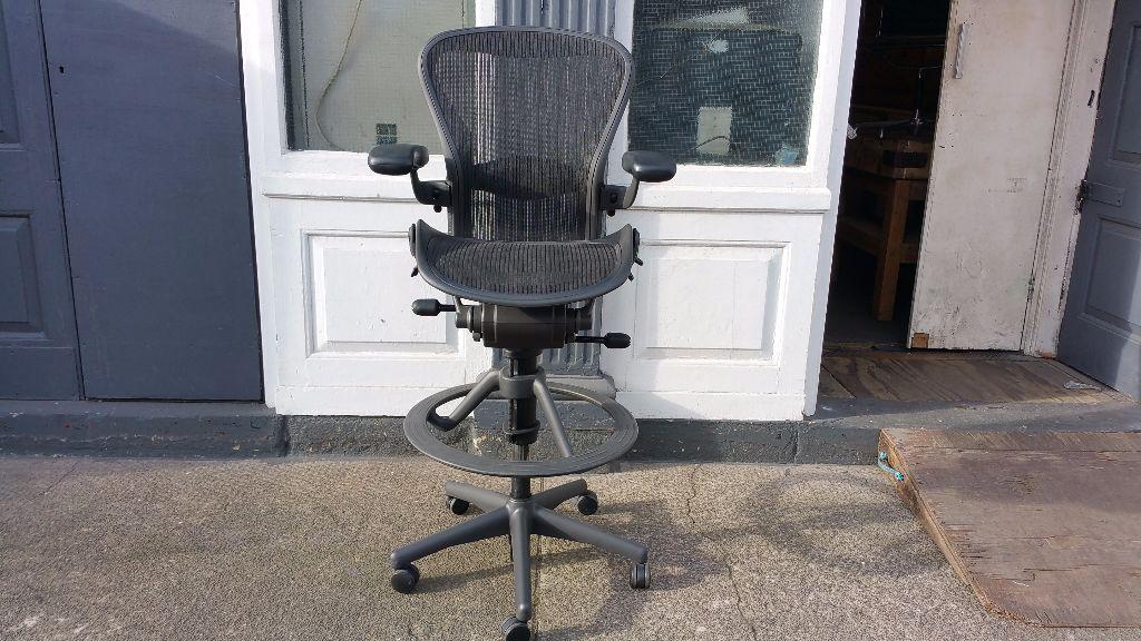Herman Miller Aeron Stool Draughtsman Chair In Battersea