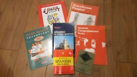 Selection of 12 Spanish textbooks and vocabulary books