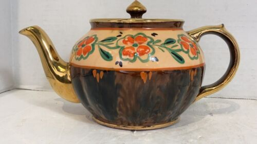 Vintage Mac Gibsons Teapot Pottery England Brown/Beige/Gold Teapot