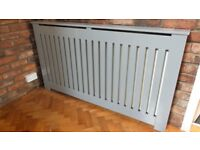 """LARGE HANDMADE GREY WOODEN RADIATOR COVER- W65"""" X H36.5"""" X D 6"""""""