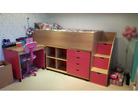Cabin bed with drawers, desk and shelves. Marks as shown on photo.