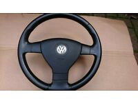VW Golf mk5 Jetta Caddy Touran Passat B6 sport 3 spoke leather steering wheel with air bag