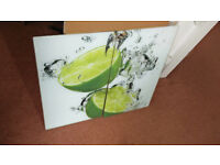 Set of 2 Glass Chopping Cutting Board Induction Ceramic Hob Cover Worktop Saver Limes